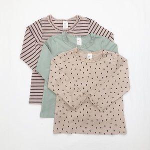 3 long sleeve toddler girl patterned  H&M tees